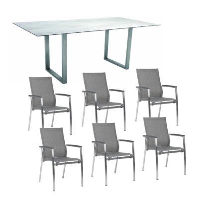 """Stern Gartenmöbel-Set mit Stapelsessel """"Mika"""" und Kufentisch 200x100 cm, Gestelle Edelstahl, Tischplatte HPL"""