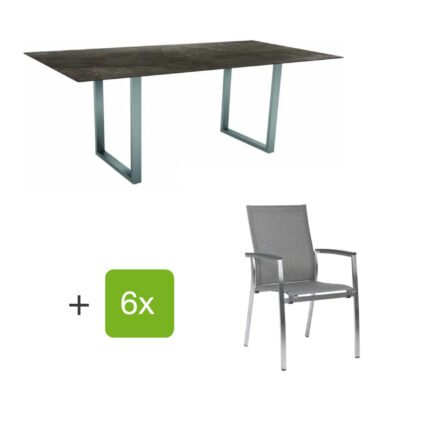 """Stern Gartenmöbel-Set mit Stapelsessel """"Mika"""" und Kufentisch 200x100 cm, Gestelle Edelstahl, Tischplatte HPL Dark Marble"""