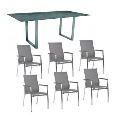 """Stern Gartenmöbel-Set mit Stapelsessel """"Mika"""" und Kufentisch 200x100 cm, Gestelle Edelstahl, Tischplatte HPL Zement"""