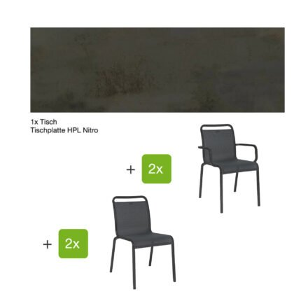 """Gartenmöbel-Set mit Stapelstuhl """"Oskar"""" und Gartentisch 130x80 cm, Alu anthrazit, Tischplatte HPL Nitro"""