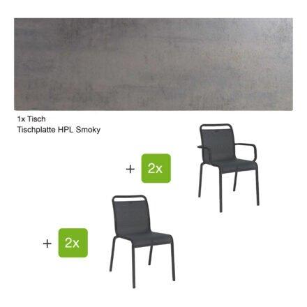 """Gartenmöbel-Set mit Stapelstuhl """"Oskar"""" und Gartentisch 130x80 cm, Alu anthrazit, Tischplatte HPL Smoky"""