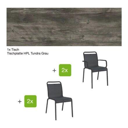 """Gartenmöbel-Set mit Stapelstuhl """"Oskar"""" und Gartentisch 130x80 cm, Alu anthrazit, Tischplatte HPL Tundra grau"""