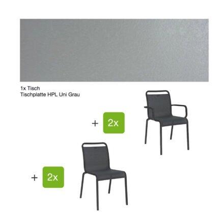 """Gartenmöbel-Set mit Stapelstuhl """"Oskar"""" und Gartentisch 130x80 cm, Alu anthrazit, Tischplatte HPL Uni grau"""