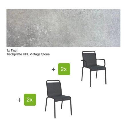"""Gartenmöbel-Set mit Stapelstuhl """"Oskar"""" und Gartentisch 130x80 cm, Alu anthrazit, Tischplatte HPL Vintage stone"""