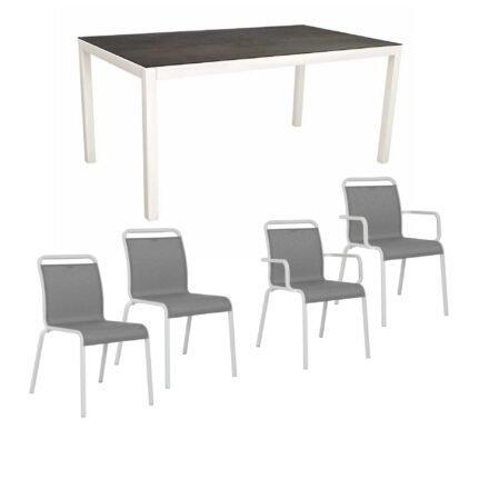 """Gartenmöbel-Set mit Stapelstuhl """"Oskar"""" und Gartentisch 130x80 cm, Alu weiß, Tischplatte HPL Nitro"""