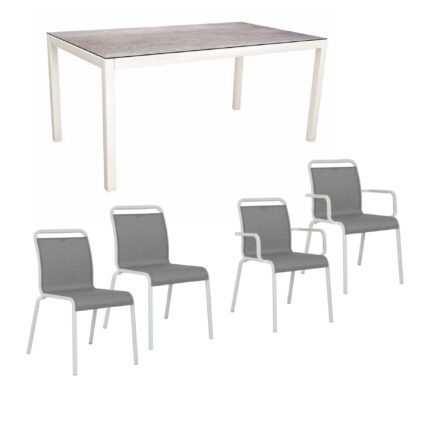 """Gartenmöbel-Set mit Stapelstuhl """"Oskar"""" und Gartentisch 130x80 cm, Alu weiß, Tischplatte HPL Smoky"""
