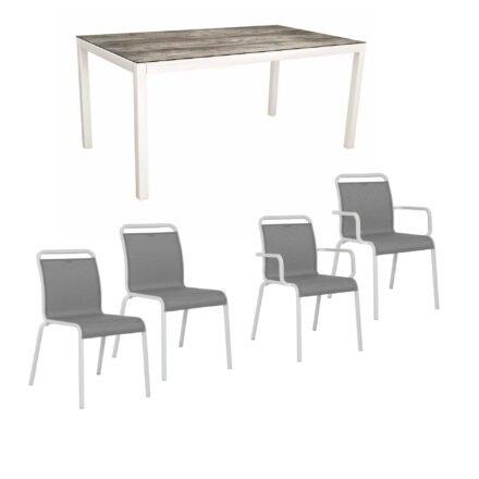 """Gartenmöbel-Set mit Stapelstuhl """"Oskar"""" und Gartentisch 130x80 cm, Alu weiß, Tischplatte HPL Tundra grau"""