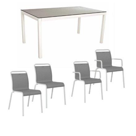 """Gartenmöbel-Set mit Stapelstuhl """"Oskar"""" und Gartentisch 130x80 cm, Alu weiß, Tischplatte HPL Uni grau"""