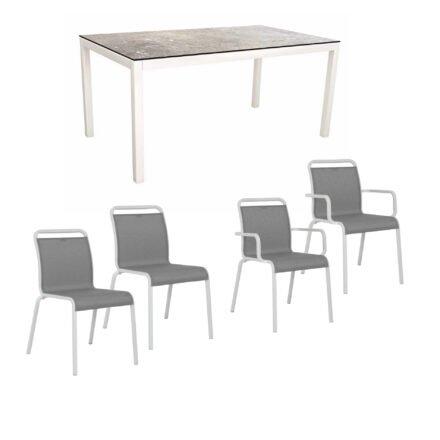 """Gartenmöbel-Set mit Stapelstuhl """"Oskar"""" und Gartentisch 130x80 cm, Alu weiß, Tischplatte HPL Vintage stone"""