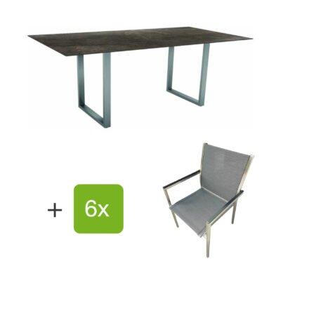"""Stern Gartenmöbel-Set mit Stapelstuhl """"Polaris"""", Textilen karbon, und Kufentisch 200x100cm, Gestelle Edelstahl, Tischplatte HPL Dark Marble"""