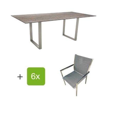 """Stern Gartenmöbel-Set mit Stapelstuhl """"Polaris"""", Textilen karbon, und Kufentisch 200x100cm, Gestelle Edelstahl, Tischplatte HPL Smoky"""