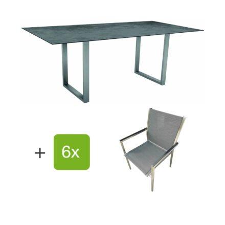 """Stern Gartenmöbel-Set mit Stapelstuhl """"Polaris"""", Textilen karbon, und Kufentisch 200x100cm, Gestelle Edelstahl, Tischplatte HPL Zement"""