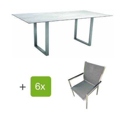 """Stern Gartenmöbel-Set mit Stapelstuhl """"Polaris"""", Textilen karbon, und Kufentisch 200x100cm, Gestelle Edelstahl, Tischplatte HPL Zement hell"""