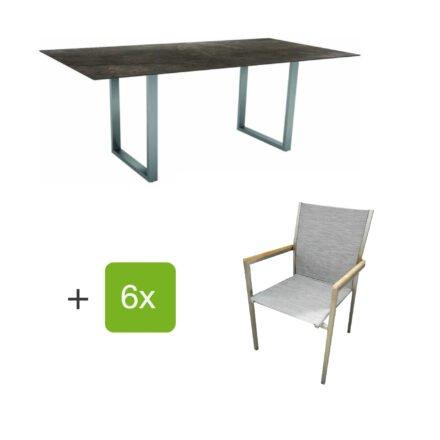 """Stern Gartenmöbel-Set mit Stapelstuhl """"Polaris"""", Textilen kaschmir, und Kufentisch 200x100cm, Gestelle Edelstahl, Tischplatte HPL Dark Marble"""