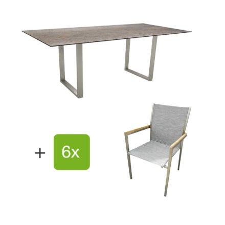 """Stern Gartenmöbel-Set mit Stapelstuhl """"Polaris"""", Textilen kaschmir, und Kufentisch 200x100cm, Gestelle Edelstahl, Tischplatte HPL Smoky"""