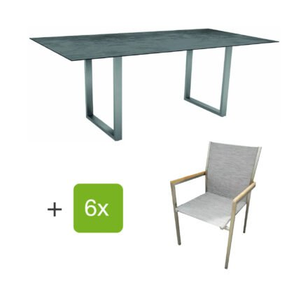 """Stern Gartenmöbel-Set mit Stapelstuhl """"Polaris"""", Textilen kaschmir, und Kufentisch 200x100cm, Gestelle Edelstahl, Tischplatte HPL Zement"""