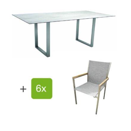 """Stern Gartenmöbel-Set mit Stapelstuhl """"Polaris"""", Textilen kaschmir, und Kufentisch 200x100cm, Gestelle Edelstahl, Tischplatte HPL Zement hell"""