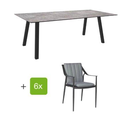 """Stern Gartenmöbel-Set mit Gartenstuhl """"Vanda"""" und Gartentisch """"Interno"""", Vierkantrohr, 220x100cm, Tischplatte HPL Metallic grau"""