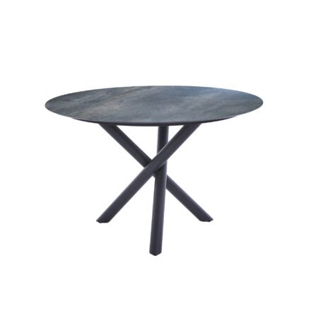 "Diamond Garden Tisch ""San Marino"" rund, Gestell Edelstahl dunkelgrau, Platte DiGa Compact HPL Anthrazit Titan, Ø 120 cm"