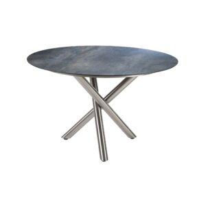 """Diamond Garden Tisch """"San Marino"""" rund, Gestell Edelstahl gebürstet, Platte DiGa Compact HPL Anthrazit Titan, Ø 120 cm"""