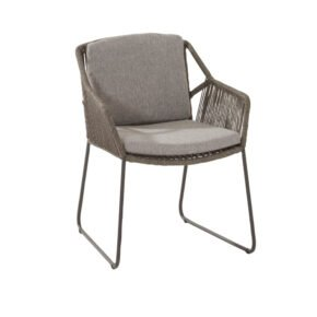 "4Seasons Diningsessel ""Accor"", Gestell Edelstahl anthrazit, Rope mid grey, Kissenset grau"