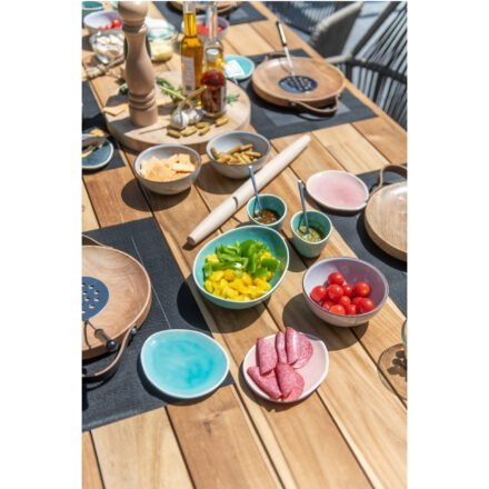 """4Seasons Outdoor Gartentisch """"Basso"""", Größe 240x100 cm, Alu anthrazit, Tischplatte Teak"""
