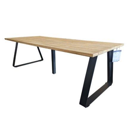 """4Seasons Outdoor Gartentisch """"Basso"""", Größe 240x100 cm, Alu anthrazit, Tischplatte Teak, im Original mit zusätzlichem Mittelfuß"""