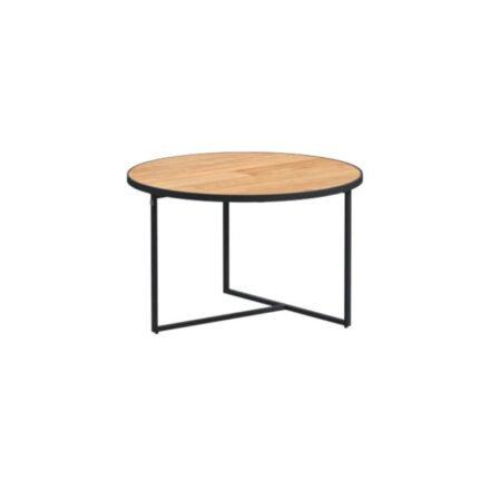 "4Seasons Outdoor Kaffeetisch ""Strada"", Alu anthrazit, Tischplatte Teak, Ø 58,5 cm, Höhe 35 cm"