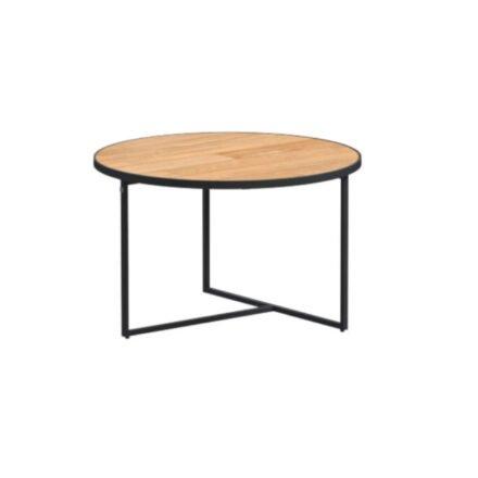 "4Seasons Outdoor Kaffeetisch ""Strada"", Alu anthrazit, Tischplatte Teak, Ø 73 cm, Höhe 40 cm"