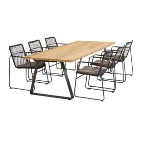 """4Seasons Outdoor Gartenmöbel-Set mit Tisch """"Basso"""" und Diningsessel """"Elba"""", Tisch mit zusätzlichem Mittelfuß (fehlt auf der Abb.)"""