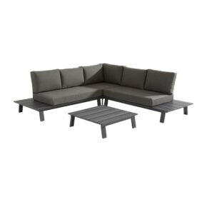 "4Seasons Outdoor Eckloungeset 4-tlg. ""Sofia"", Alu matt carbon, inkl. Kissenset"