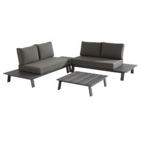 "4Seasons Outdoor Loungeset 4-tlg. ""Sofia"", Alu matt carbon, inkl. Kissenset"