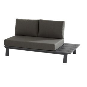 "4Seasons Outdoor Loungesofa ""Sofia"" mit Ablage links, Alu matt carbon, inkl. Kissen grau"