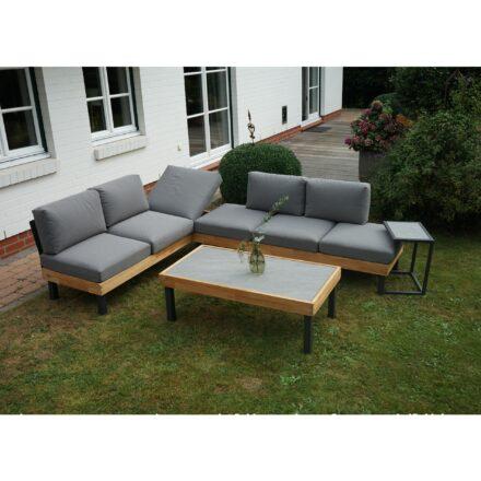 """Ploß Loungeset """"Skagen"""", Design-Sofa, Couch- & Beistelltisch, Aluminium anthrazit mit Teakholz, Polster grau, Tischplatten Keramik"""
