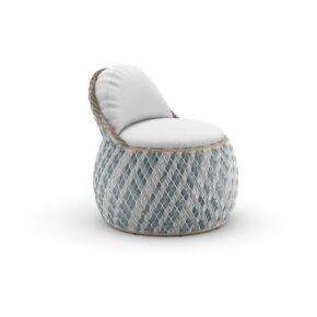 """DEDON Club Chair """"DALA"""", DEDON Faser bahamas, Polster Bezug COOL white"""