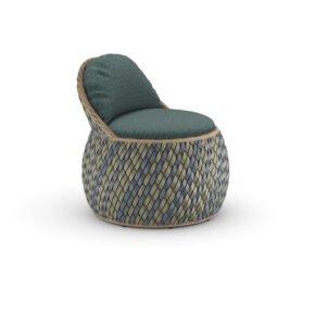 """DEDON Club Chair """"DALA"""", DEDON Faser ubud, Polster Bezug GLAN teal"""