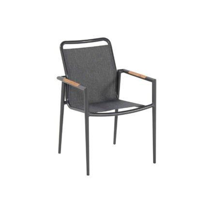 "Hartman Gartenstuhl ""Galicia"", Gestell Aluminium xerix, Sitz-& Rückenfläche Textilgewebe grau, Armlehnen mit Teakholz"