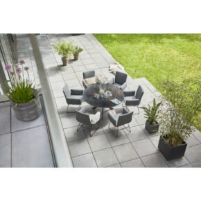 "Diamond Garden ""Korfu"" Gartenstuhl, Edelstahl Gestell dunkelgrau, Sitzschale Textilgewebe grau und ""Lyon"" Gartentisch, Edelstahl-Gestell, HPL Tischplatte"