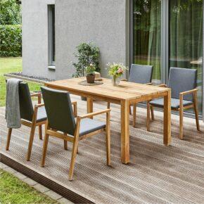 """Diamond Garden Gartentisch """"Gent"""", Teakholz recycelt und Gartenstuhl """"Lugano"""", Teakholz, Sitzschale aus Tuvatextil"""