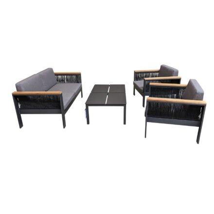 """Home Islands Loungeset """"Miray"""", Gestell Aluminium eisengrau, Rope schwarz, Teakarmlehnen, Polster grau mit Loungetisch """"Liem"""""""