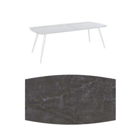 """Jati&Kebon """"Amazone"""" Gartentisch, Gestell Aluminium weiß, Tischplatte Dekton Laos"""