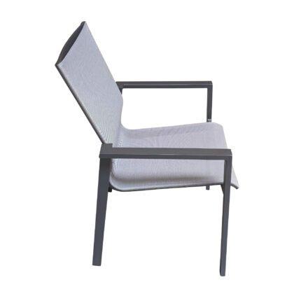 "Jati&Kebon ""Beja XL"" Gartenstuhl, Aluminium eisengrau, Textilgewebe silbergrau"