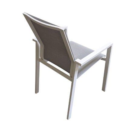"Jati&Kebon ""Beja XL"" Gartenstuhl, Aluminium weiß, Textilgewebe hellgrau"