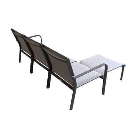 "Jati&Kebon ""Dransy"" Loungeset 4-tlg., Aluminium eisengrau, Textilgewebe silbergrau"