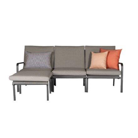"""Jati&Kebon """"Dransy"""" Loungeset 4-tlg., Aluminium eisengrau, Textilgewebe silbergrau mit Auflagen und Dekokissen"""