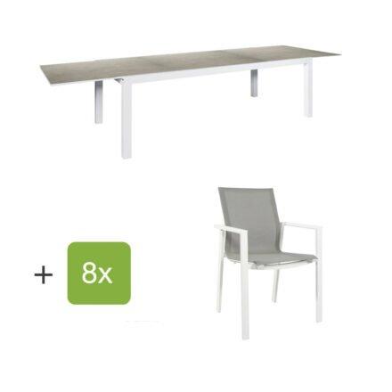 """Jati&Kebon Gartenmöbel-Set mit Ausziehtisch """"Livorno"""", Alu weiß, Tischplatte Keramik Zement hellgrau und acht Stühlen """"Beja"""", Alu weiß, Textilen hellgrau"""