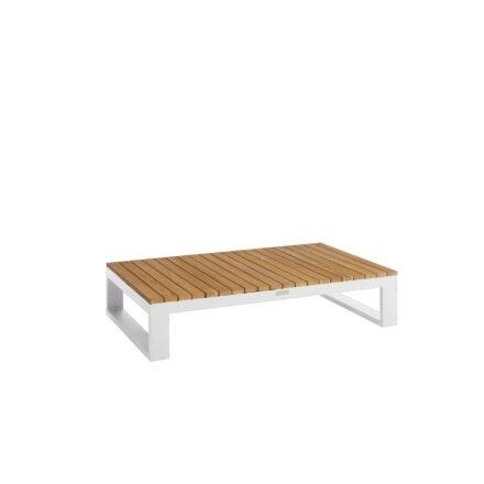"""Jati&Kebon """"Virginia"""" Loungetisch, Gestell, Aluminium weiß, Tischplatte Teak, 120x75 cm"""
