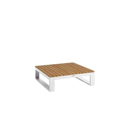 """Jati&Kebon """"Virginia"""" Loungetisch, Gestell, Aluminium weiß, Tischplatte Teak, 85x85 cm"""
