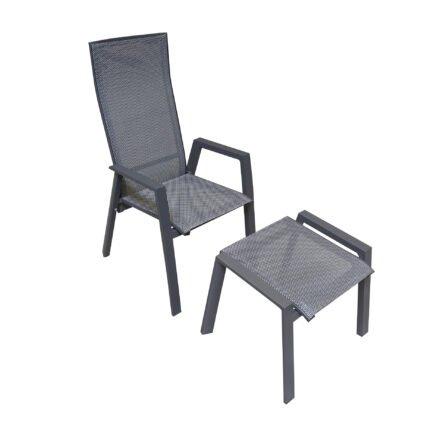 """Lesli Living """"Amir"""" Hochlehner und Hocker, Gestelle Aluminium anthrazit matt, Sitz Textilgewebe schwarz/grau"""