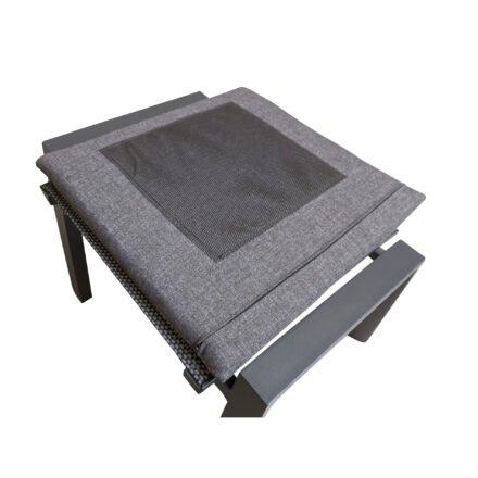 "Lesli Living ""Amir"" Gartenhocker, Gestell Aluminium anthrazit matt, Sitz Textilgewebe schwarz/grau, inkl. Kissen anthrazit, rutschhemmend"